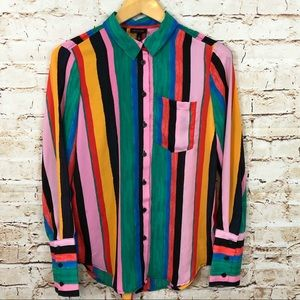 Who what wear striped blouse small button shirt